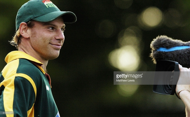 LEICESTER, ENGLAND - JULY 13: Charles Dagnell of Leicestershire is filmed after claiming four wickets during the Twenty20 Cup Match between Leicestershire Foxes and Nottinghamshire Outlaws at Grace Road, on July 13, 2004 in Leicester, England. (Photo by Matthew Lewis/Getty Images) *** Local Caption *** Charles Dagnell